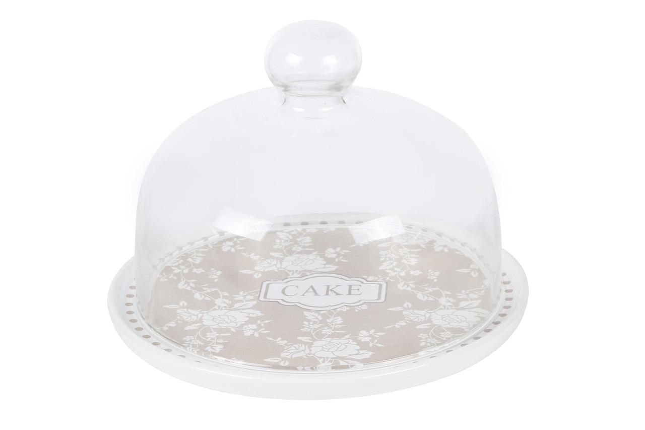 Тортовница керамическая со стеклянным колпаком Cake 875-343