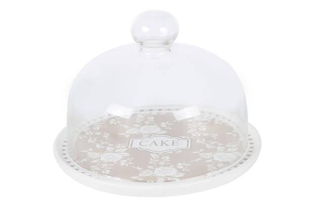 Тортовница керамическая со стеклянным колпаком Cake 875-343, фото 2