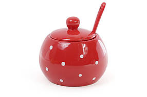 Сахарница с ложкой 350мл, цвет - красный в белый горошек 593-213
