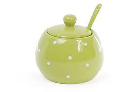 Сахарница с ложкой 350мл, цвет - зелёный в белый горошек 593-212