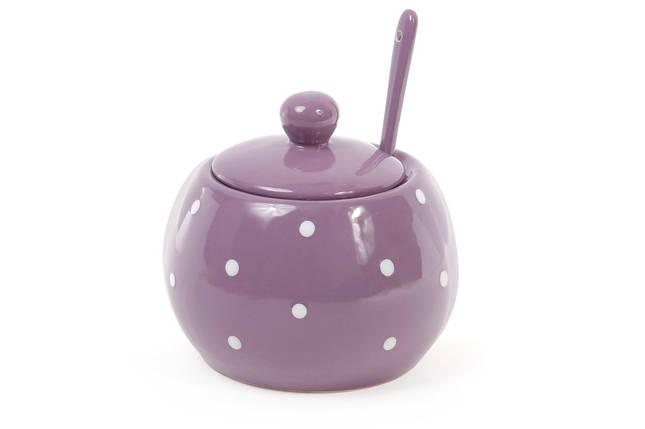 Сахарница с ложкой 350мл, цвет - фиолетовый в белый горошек 593-214, фото 2