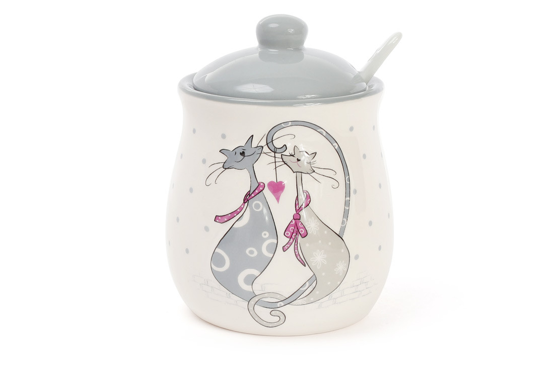 Сахарница керамическая 325мл с ложкой с объемным рисунком Влюбленные коты DM078-L