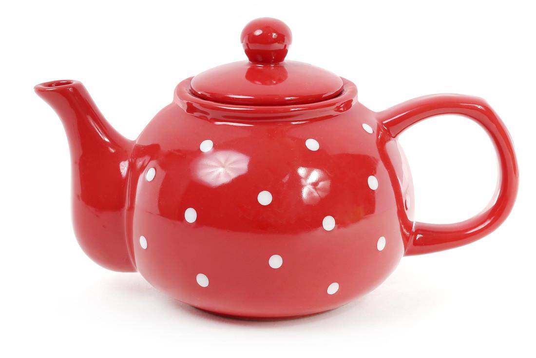 Чайник 1000мл, цвет - красный в белый горошек 593-218