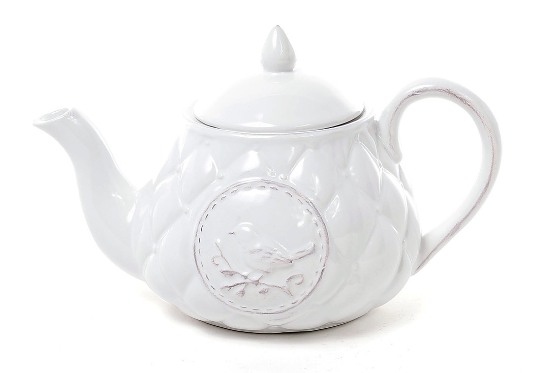 Чайник керамический Птица 800мл, цвет белый 545-129