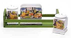 Солонка, перечница и салфетница на деревянной подставке Cheese&Wine DU312-W