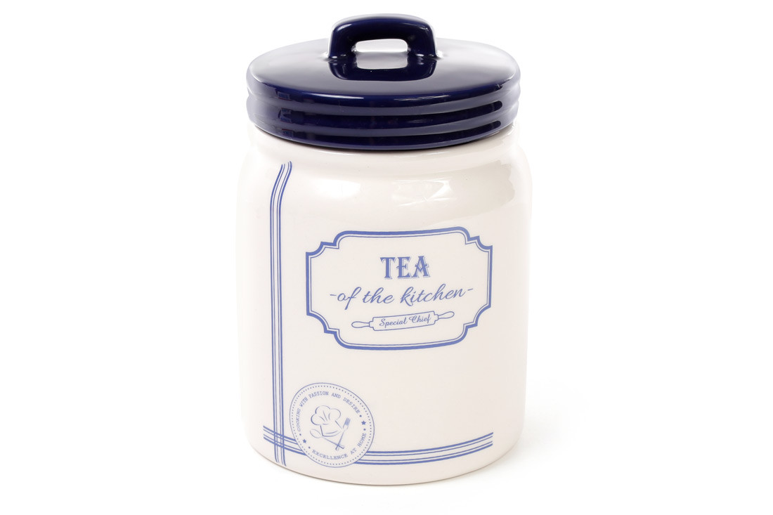 Банка керамическая Tea 900мл для сыпучих продуктов синяя Red&Blue DM108-S