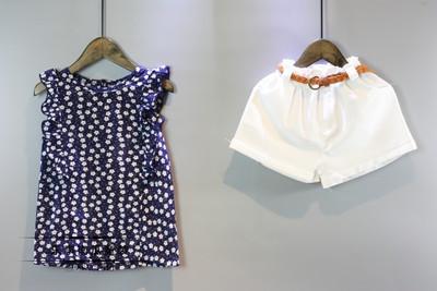 Костюм нарядный блузка и шорты June Kids Горошек рост 110 см синий+белый  06041