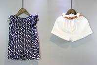 Костюм нарядный блузка и шорты June Kids Горошек рост 110 см синий+белый  06041, фото 1