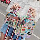 Прозрачный мини рюкзак сумка c  голографическим эффектом., фото 4