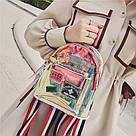 Прозрачный мини рюкзак сумка c  голографическим эффектом., фото 3