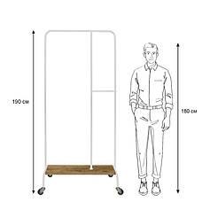 Стойка для одежды на колесиках Лофт 4 пром белая (металл/дерево), фото 2