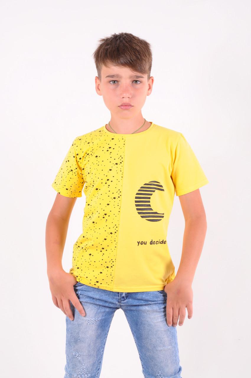 """Футболка для мальчика желтая """"you decide"""" от 6 до 10 лет(116;122;128;134;140)"""