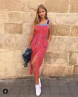 Женский летний миди сарафан в горох с карманами. Ткань итальянский коттон Размеры с,м,л