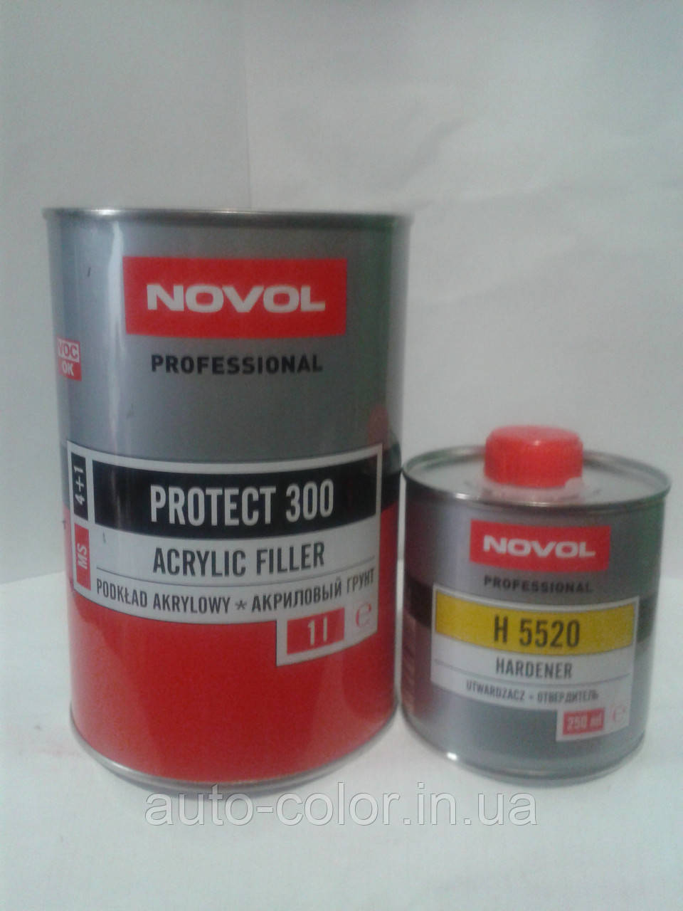 Грунт акриловий 4+1 PROTECT 300 Novol (1л) + затверджувач (0,25 л), чорний