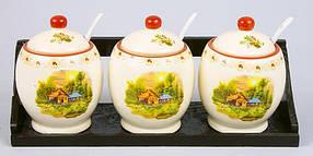 Набор керамических банок (3шт) 300мл с ложками на деревянной подставке Пейзаж QF555-DP_12ps