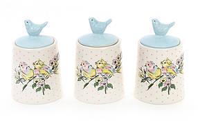 Набор (3шт) керамических банок 175мл для сыпучих продуктов Птички DK0070-D