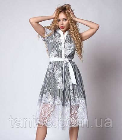 Летнее платье расклешенное, ткань рубашечная х/б, отделка франц. кружево р.48 бел.цветы (709)