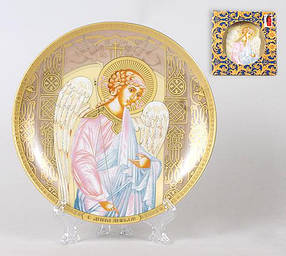 Тарелка декоративная 18.4см с пластиковой подставкой Ангел-хранитель 209-T39