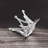 Корона на гребне серебряная со стразами (большая)