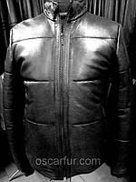 Куртка мужская из натуральной кожи, утепленная, черная
