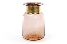 Стеклянная ваза 20см, цвет - янтарное стекло с медью 591-202