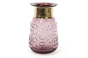 Стеклянная ваза 23см, цвет - фиолетовое стекло с медью 591-200