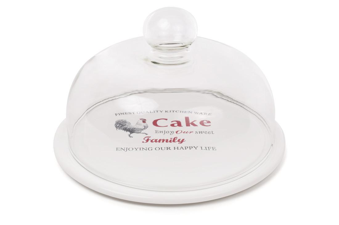 Блюдо керамическое со стеклянным колпаком Family 875-381