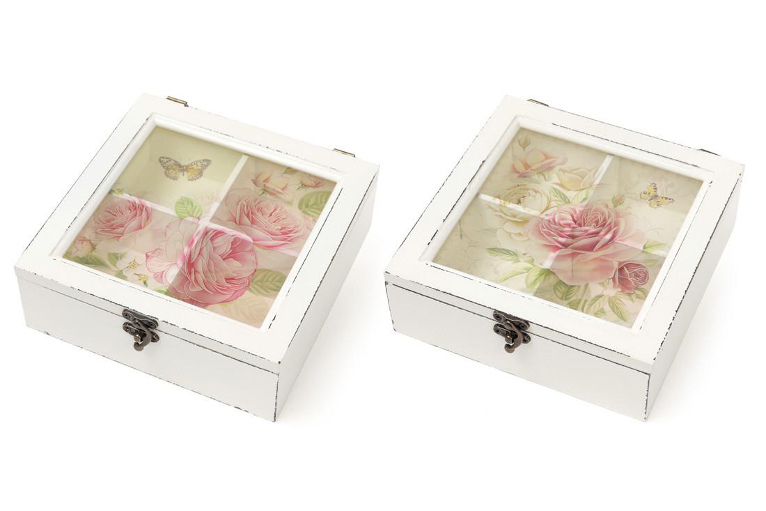 Коробка для чая деревянная со стеклянной крышкой Цветы, цвет - состаренный белый 487-310
