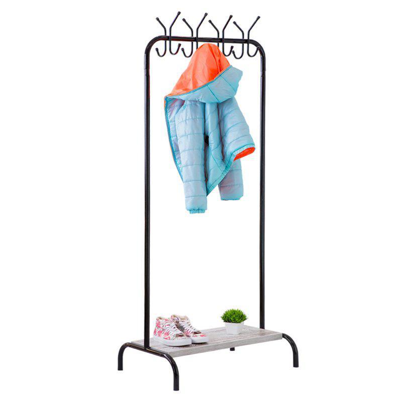 Стойка для одежды с крючками Лофт 8 черная (металл/дерево)