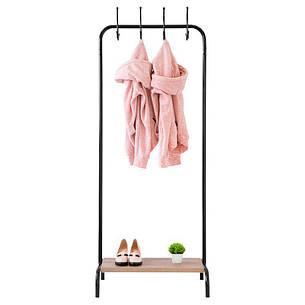 Стойка для одежды с крючками Лофт 8 черная (металл/дерево), фото 2