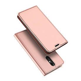 Чехол книжка для LG K8 2018 боковой с отсеком для визиток, DUX Ducis, золотисто-розовый
