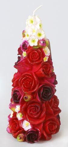 Декоративная свеча Цветочка пирамидка 18см Q00-224