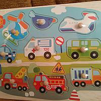 Деревянная игрушка Рамка-вкладыш транспорт, с ручкой,в кульке  30-22,5-2см