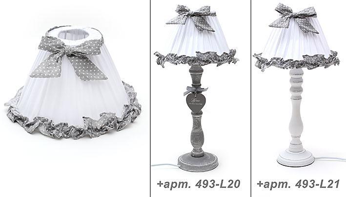 Лампа настольная белая в серый горошек (493-L17)