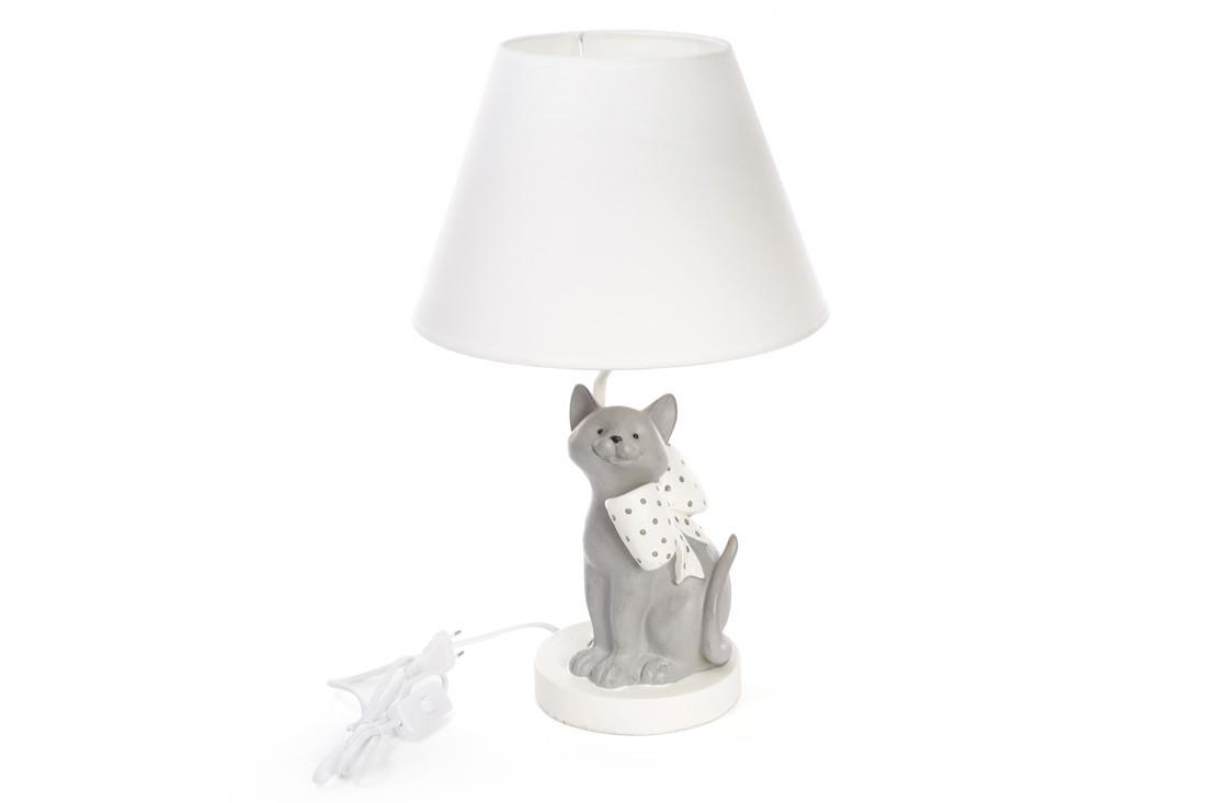 Лампа настольная Кот с бантом 50см с тканевым абажуром 447-303