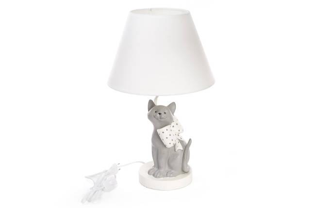 Лампа настольная Кот с бантом 50см с тканевым абажуром 447-303, фото 2
