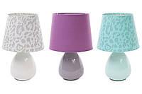 Лампа настольная 26см с керамическим основанием и тканевым абажуром, 3 цвета в асс 242-130