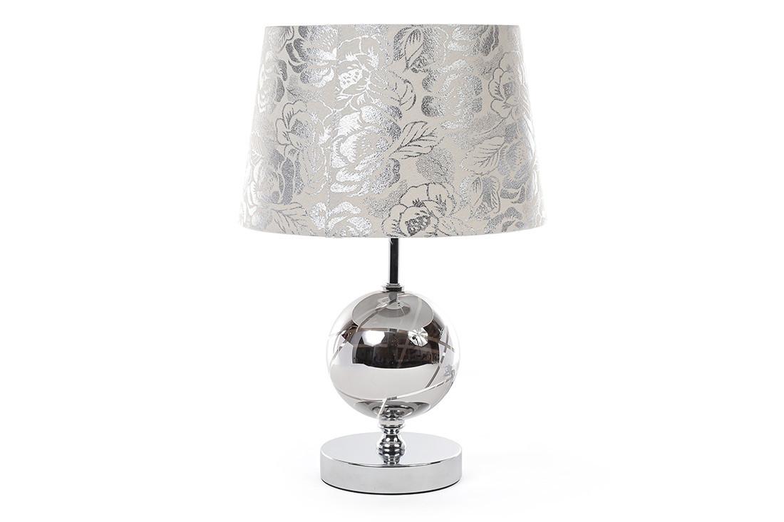 Лампа настольная 41см с металлическим основанием, стеклянным декором и тканевым абажуром 242-133
