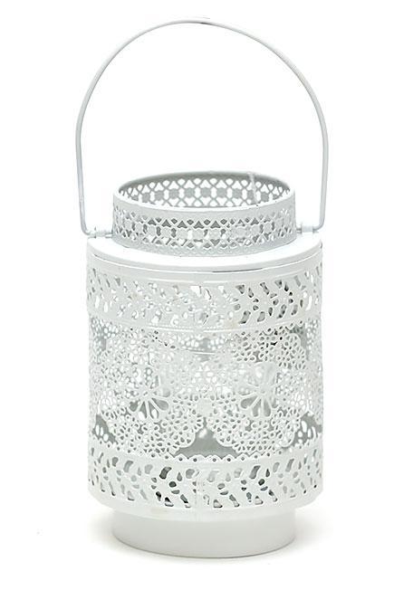Подсвечник-фонарик металлический Кружево 15см со стеклянной колбой, цвет - белый 730-113