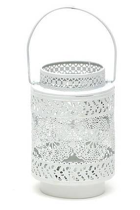 Подсвечник-фонарик металлический Кружево 15см со стеклянной колбой, цвет - белый 730-113, фото 2