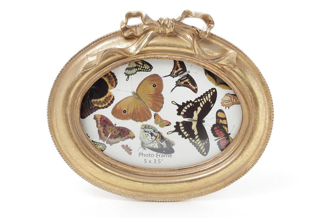 Рамка для фото овальная 16.5*14.5см Бант, цвет - состаренное золото 450-111