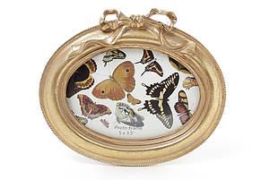Рамка для фото овальная 16.5*14.5см Бант, цвет - состаренное золото 450-111, фото 2
