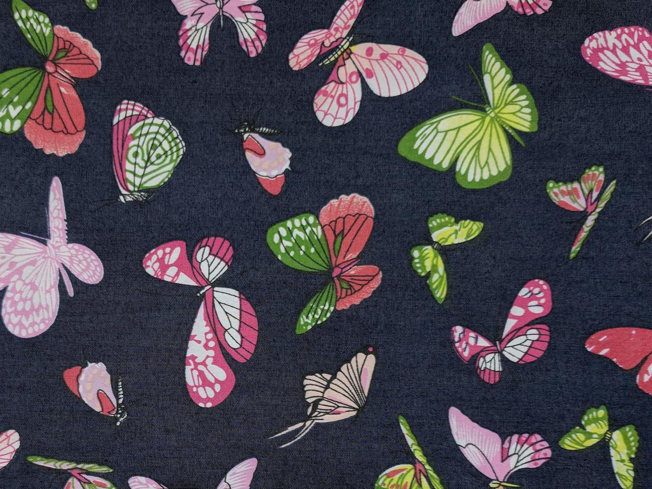 Джинс тенсел рубашечный бабочки, темно-синий