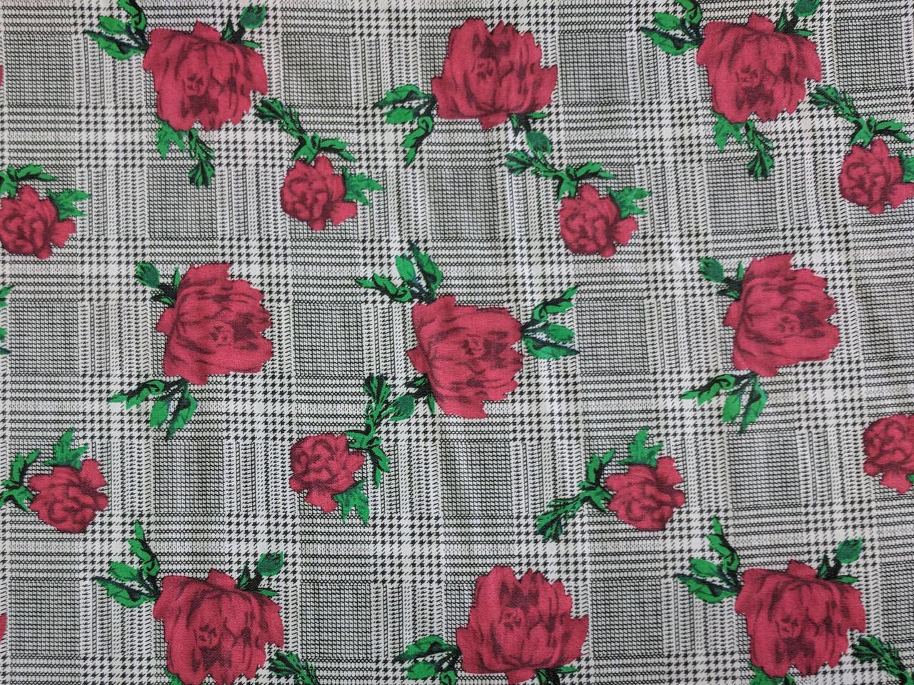 Джинс тенсел рубашечный роза на клеточке