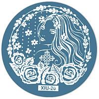 Диск для Стемпинга Металлический Круглый XIU-20 Орнамент, Цветы, Растения, Девушка, для Ногтей