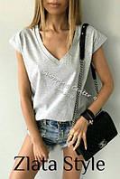 Молодежная модная женская серая футболка