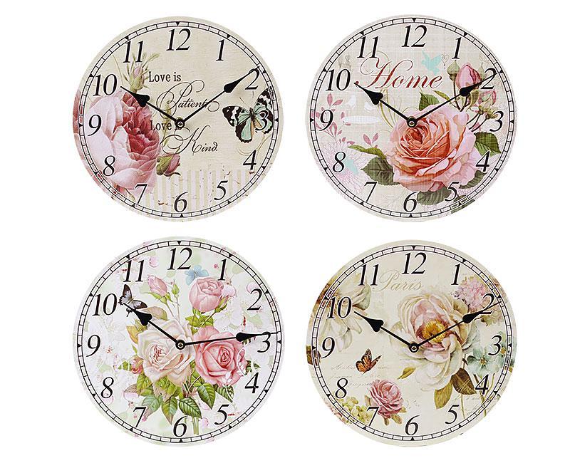 Часы настенные деревянные Цветы 487-280