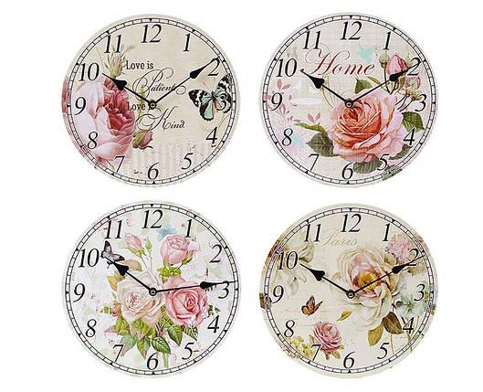 Часы настенные деревянные Цветы 487-280, фото 2