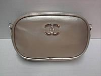 Женская сумка на пояс - клатч золотистая