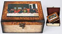 Деревянная шкатулка (набор - 2 шт) 20см 412-205